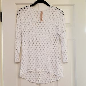Bailey 44 White Open Knit long sleeved